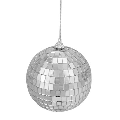 "Northlight 4ct Silver Splendor Mirrored Glass Disco Ball Christmas Ornaments 4"" (100mm)"