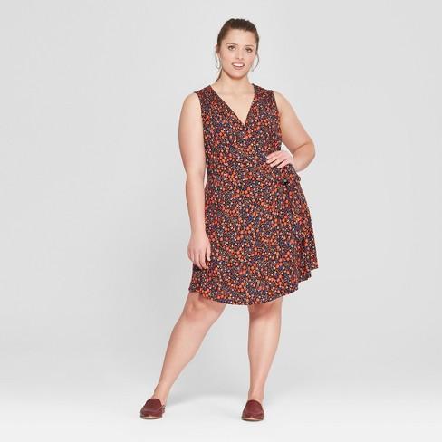 Womens Plus Size Floral Print Wrap Dress Universal Thread Black