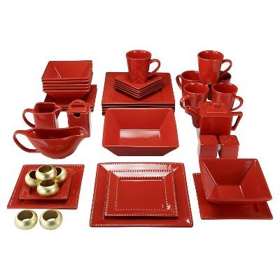 10 Strawberry Street Square Nova 45pc Dinnerware Set Red Beaded Rim