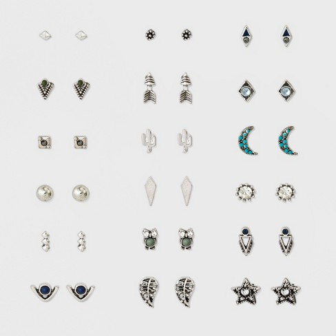 Women's Earring 18 on with Arrow, Owl, Cactus, Star, Leaf, Moon and Mixed Studs - Silver - image 1 of 2