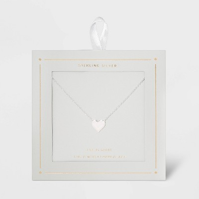 Sterling Silver Heart Necklace - Silver
