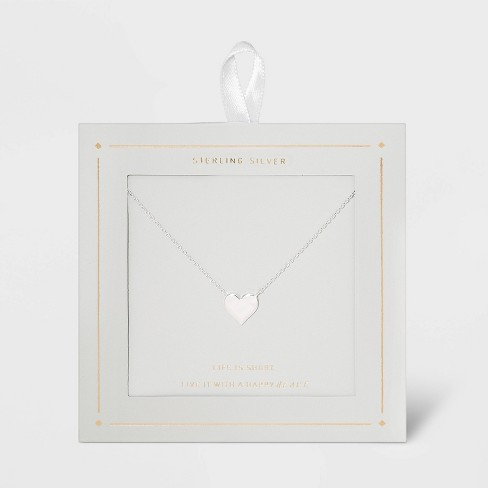 Sterling Silver Heart Necklace - Silver - image 1 of 3