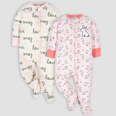 Gerber Baby Girls' 2pk Love and Bunny Sleep N' Play - Cream/Pink 0-3M