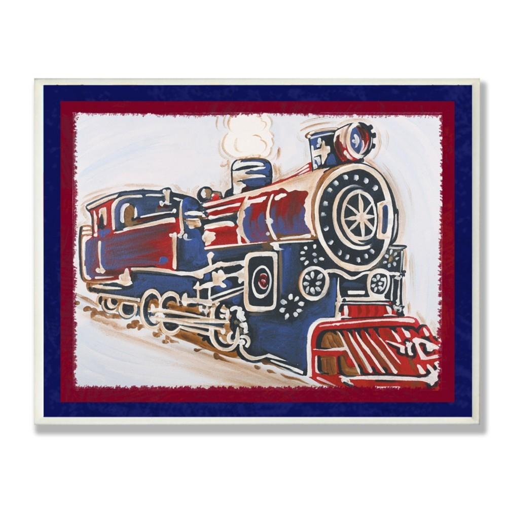 Blue And Red Vintage Train Wall Plaque Art (10x15