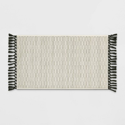 "34""x20"" Textured Kitchen Rug with Fringe Neutral - Opalhouse™"