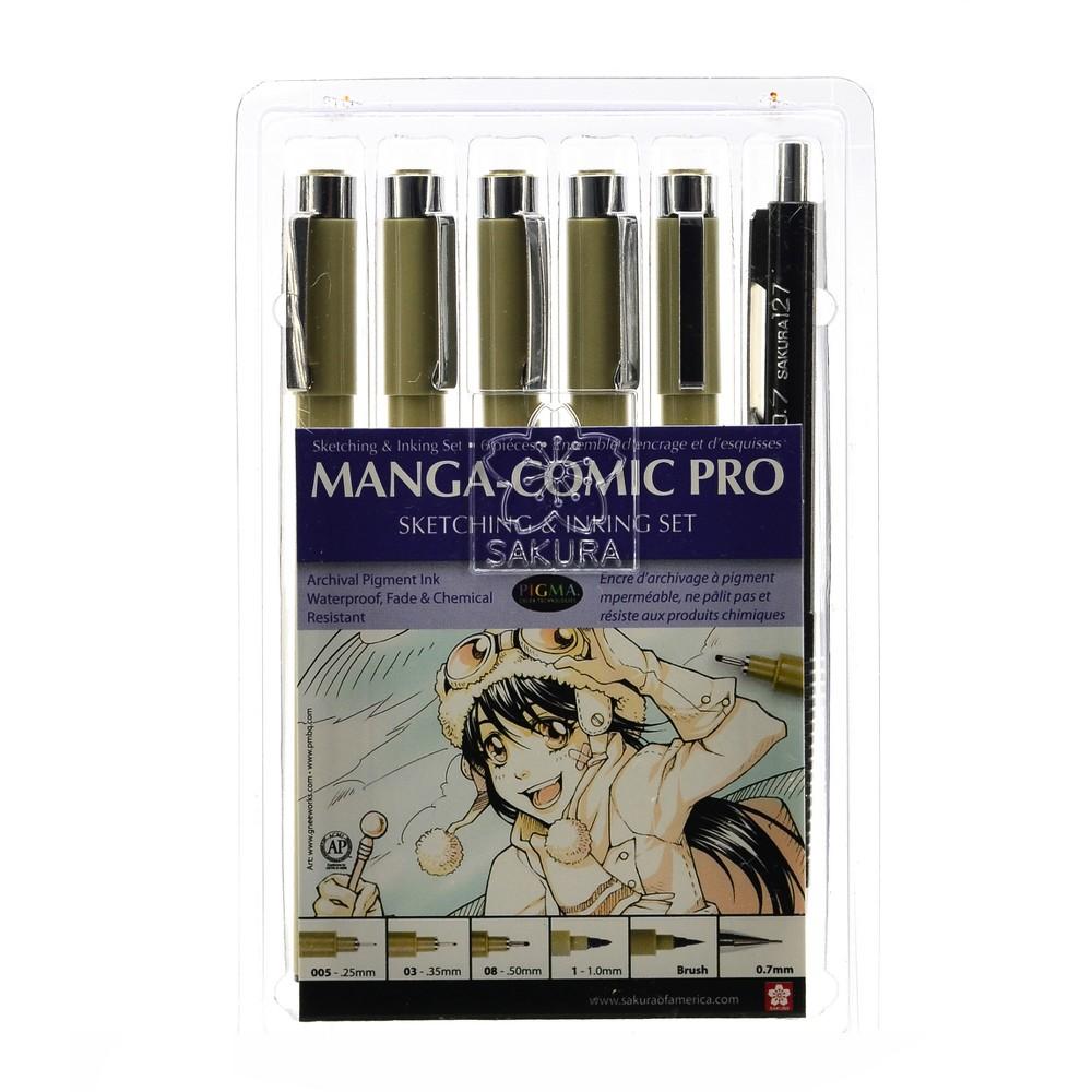 Image of Manga-Comic Pro Sketch and Ink Kit 6ct - Sakura, Black