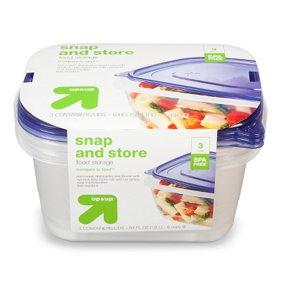 Snap And Store Medium Rectangle Food Storage Container - 3ct/64 fl oz - Up&Up™