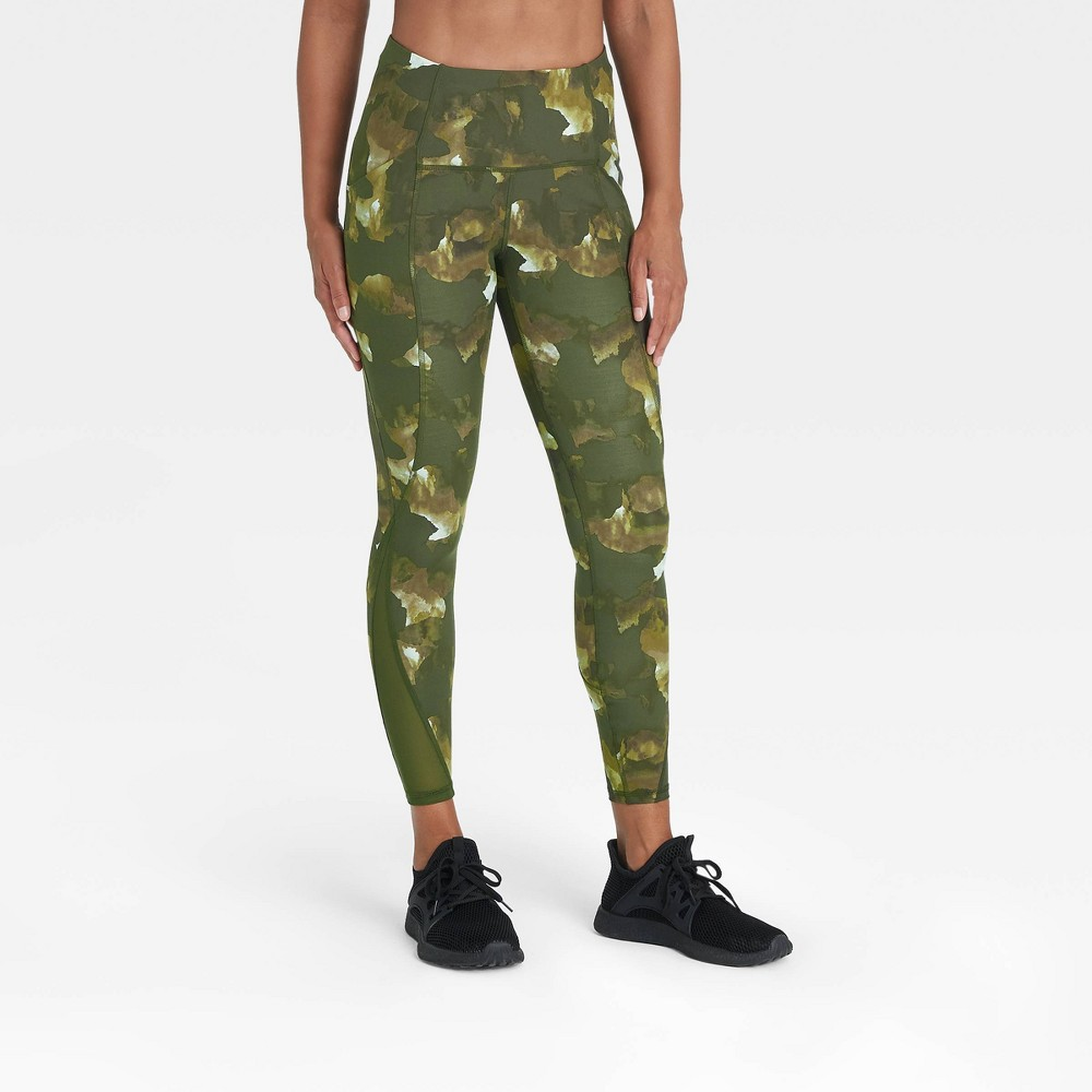 Women 39 S Sculpted Linear Camo Print High Waisted 7 8 Leggings 25 34 All In Motion 8482 Green Xs