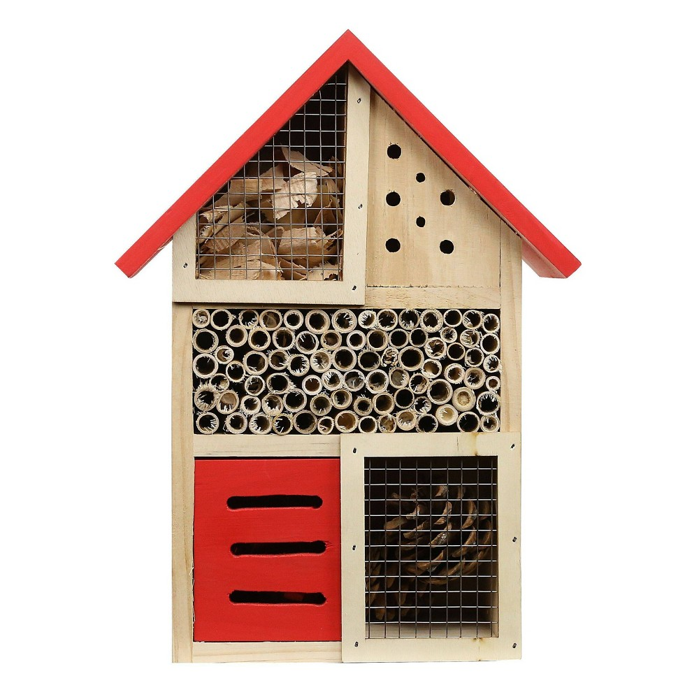 "Image of ""10"""" Barn House - Inspired Hanging Insect Apartment Wood Red - Alpine Corporation"""