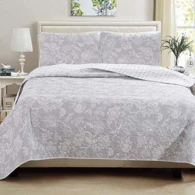 Great Bay Home Emma Reversible Floral Printed Quilt Set