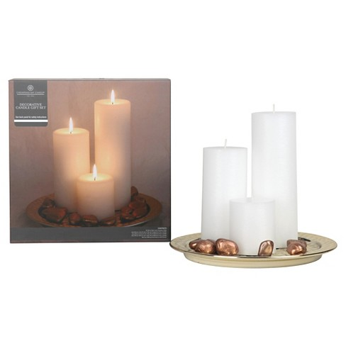 3pc Pillar Candle Set with Metal Plate Gold/Copper - Chesapeake Bay Candle® - image 1 of 1