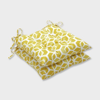 2pk Celtic Pineapple Wrought Iron Outdoor Seat Cushions Yellow - Pillow Perfect