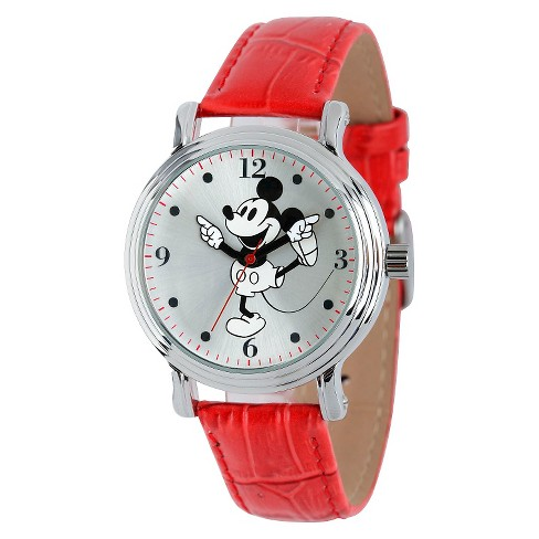 Women's Disney® Mickey Mouse Shinny Vintage Articulating Watch with Alloy Case - Red - image 1 of 2