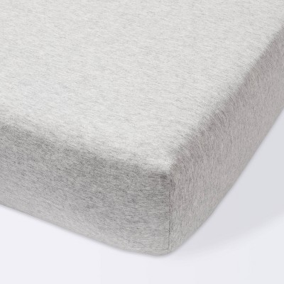 Fitted Crib Sheet Jersey Knit Heather Gray - Cloud Island™ Gray