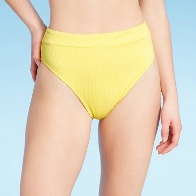 Junior's Sustainably Made Ribbed High Leg High Waist Bikini Bottom - Xhilaration™