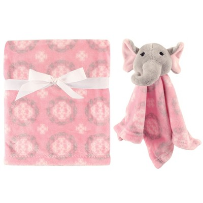 Hudson Baby Infant Girl Plush Blanket with Security Blanket, Girl Elephant, One Size