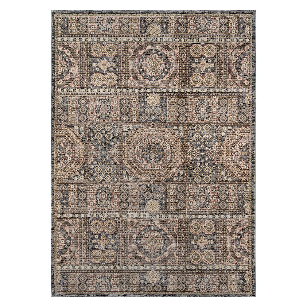 "Image of ""2'3""""X3'9"""" Tribal Design Loomed Accent Rug Gray - Momeni"""