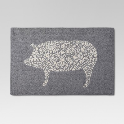 "30""x46"" Animal Icon Kitchen Mat Gray - Threshold™"