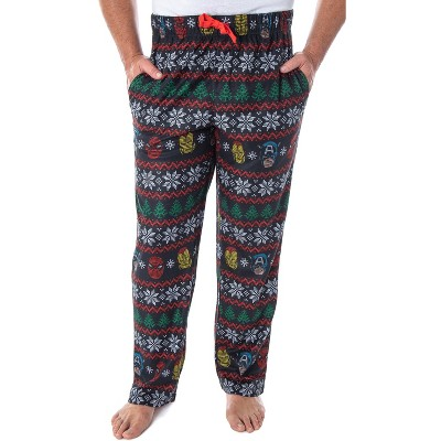 Marvel Men's Superhero Trio Ugly Sweater Adult Sleep Lounge Pajama Pants