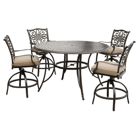 Traditions 5pc Round Metal Patio Dining Set - Tan - Hanover - image 1 of 8