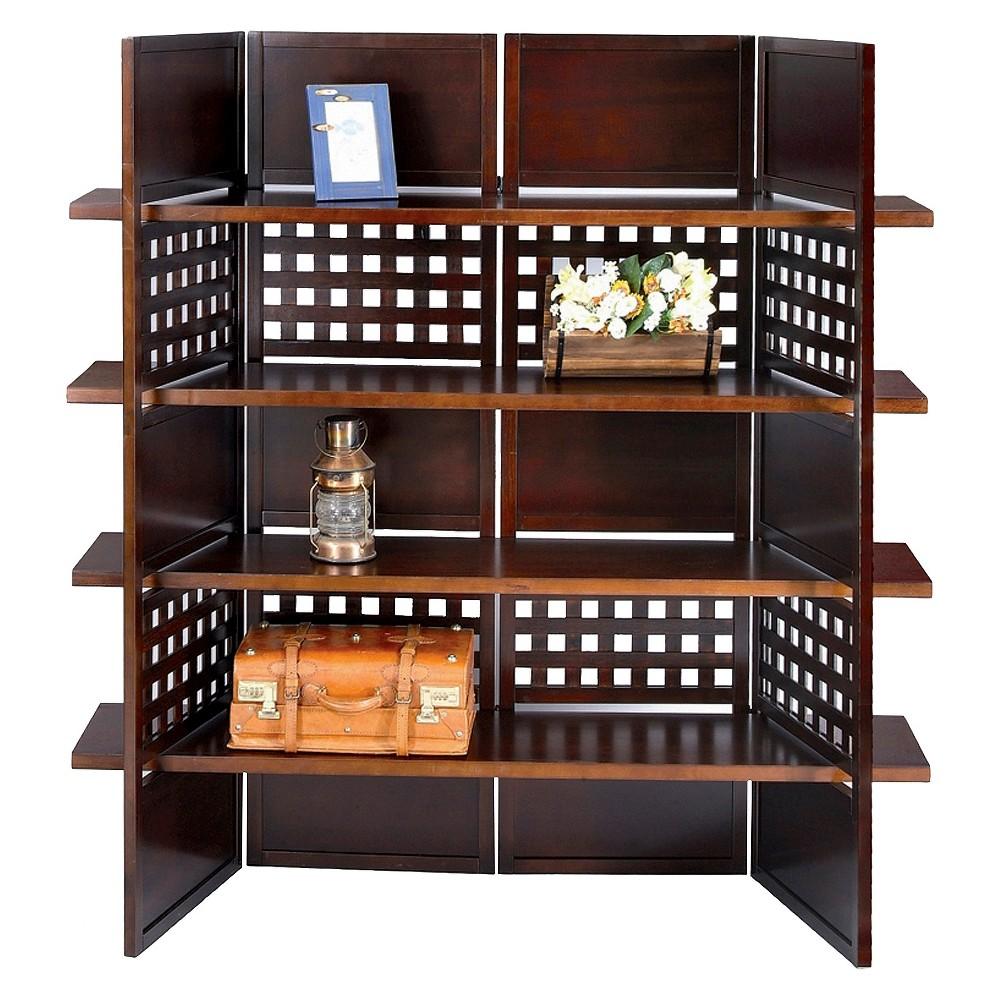 Image of 4 Panel Book Shelves Room Divider Walnut - Ore International, Brown