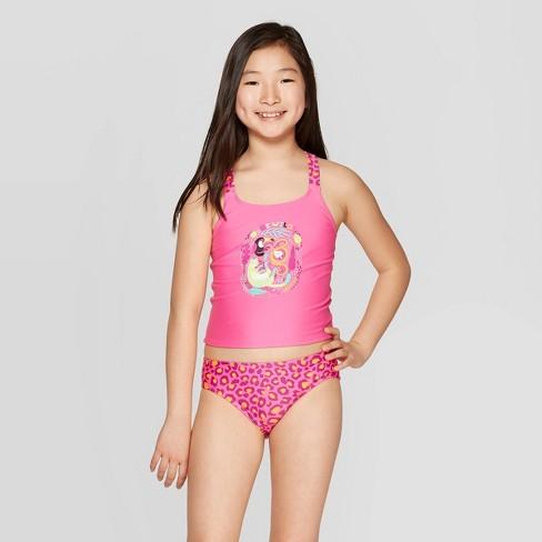 Girls' Be Wild Tankini Set - Cat & Jack™ Pink - image 1 of 3