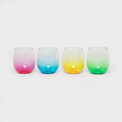 14oz 4pk Plastic Stemless Wine Glasses - Sun Squad™