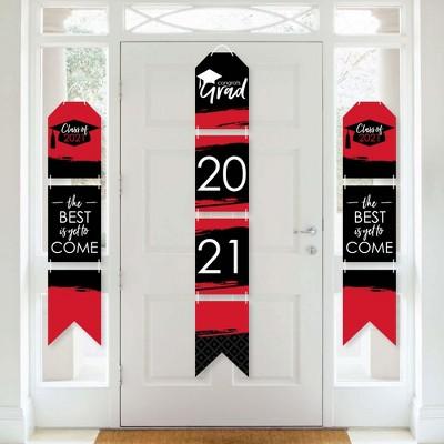 Big Dot of Happiness Red Grad - Best is Yet to Come - Hanging Vertical Paper Door Banners - 2021 Red Grad Party Wall Decor Kit - Indoor Door Decor