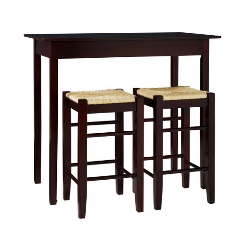 3 Piece Counter Height Table Set Wood/Brown - Linon - image 1 of 4