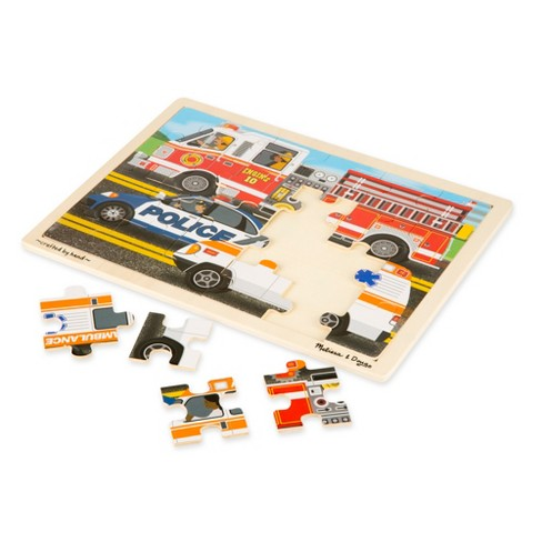Melissa & Doug® Vehicles Wooden Jigsaw Puzzles Set - Construction and  Rescue 48pc