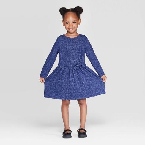 Toddler Girls' Long Sleeve Cozy Dress - Cat & Jack™ Navy - image 1 of 3