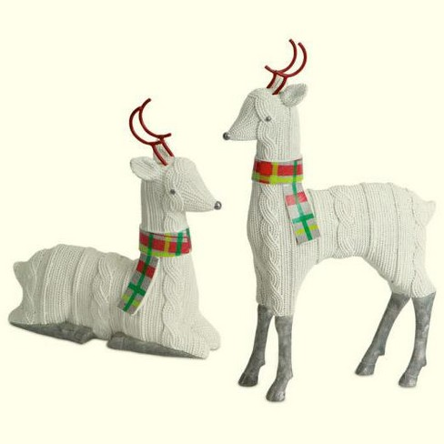 """Melrose Set of 2 White Knitted Reindeer Christmas Tabletop Figurines 12"""" - image 1 of 1"""