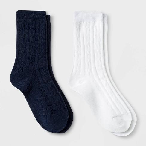 Girls' 2pk Uniform Cable Knit Crew Socks - Cat & Jack™ White - image 1 of 1