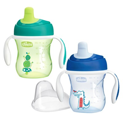 Chicco NaturalFit Semi-soft Spout 7oz Trainer Cup - Blue/Green (2pk)