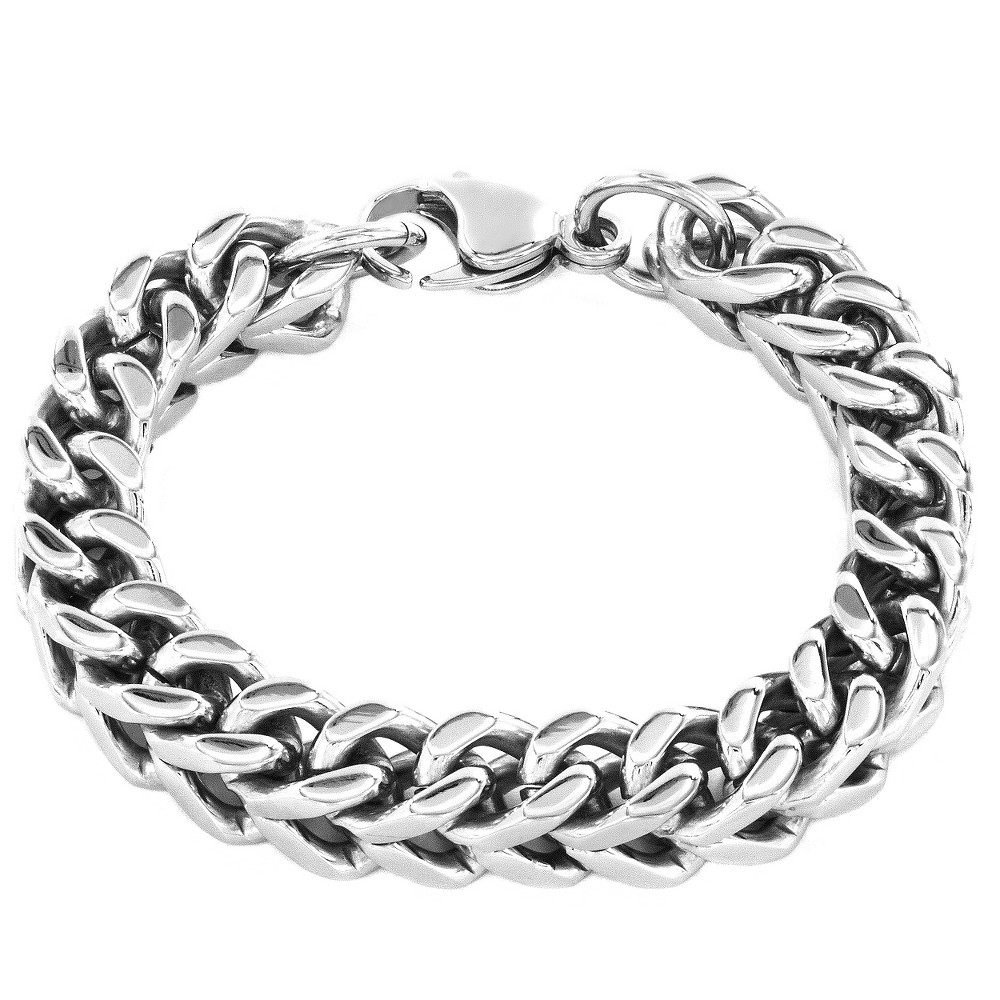 Image of Crucible Men's Stainless Steel L Franco Chain Bracelet, Size: Small, Silver/Silver
