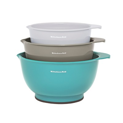 KitchenAid 3pk Mixing Bowls Aqua/Gray/White