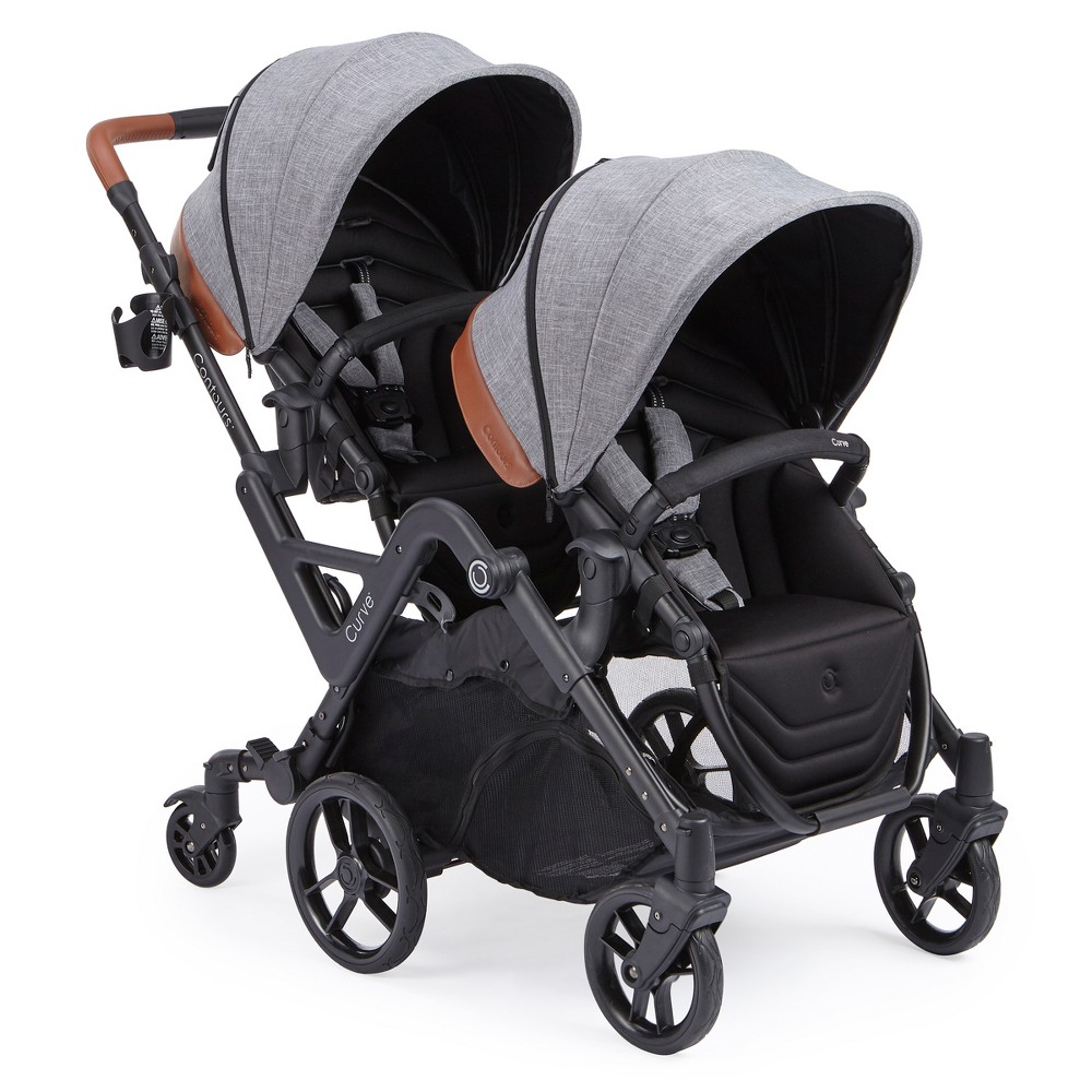 Image of Contours Curve Tandem Double Stroller - Graphite, Grey