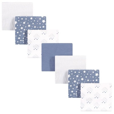 Hudson Baby Unisex Baby Cotton Flannel Receiving Blankets Bundle - Cloud Mobile Blue One Size