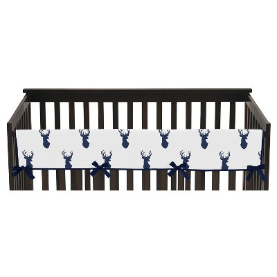 Sweet Jojo Designs Front Crib Rail Guard Cover - Navy & White Stag