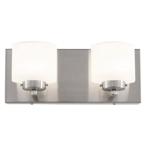 Clean 2 Light Led Vanity Satin Nickel Target