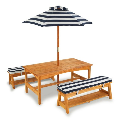 KidKraft Outdoor Table and Chair Set with Navy Stripes Cushions - KidKraft Outdoor Table And Chair Set With Navy Stripes Cushions : Target
