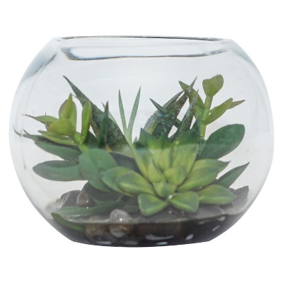Artificial Succulent Arrangement in Bowl Green 4.5  - Lloyd & Hannah