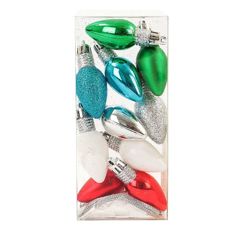 10ct Mini Green, Blue, Silver, White and Red Bulb Plastic Christmas Ornament Set - Wondershop™ - image 1 of 2
