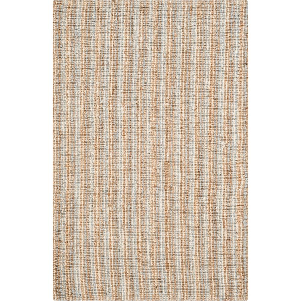 4'X6' Stripe Woven Area Rug Gray/Natural - Safavieh