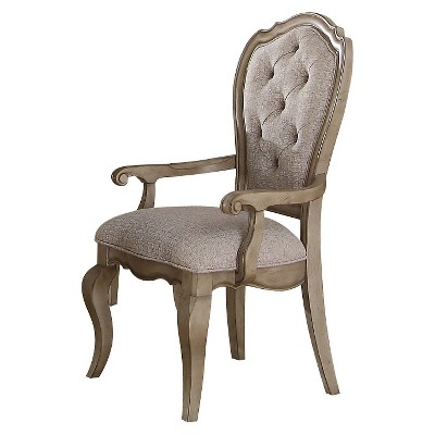 2 Pc Chelmsford Arm Dining Chair   Antique Taupe And Beige Fabric   Acme