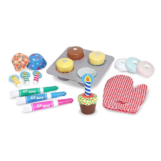 Melissa & Doug Bake and Decorate Wooden Cupcake Play Food Set image number null
