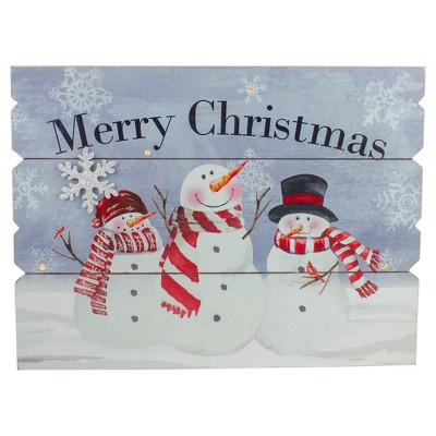 "Northlight 16"" Lighted Snowmen 'Merry Christmas' Wall Decor"