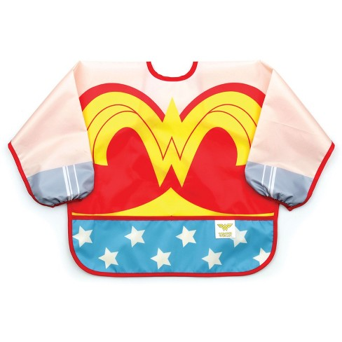 Bumkins DC Comics Costume Sleeved Wonder Woman Bib - Red - image 1 of 7