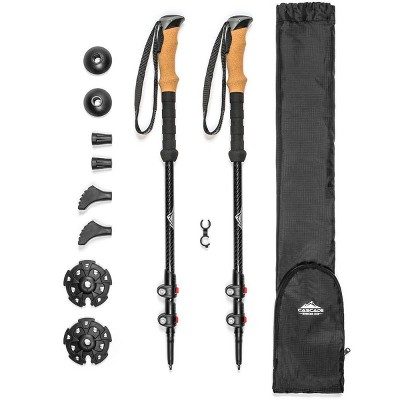 Cascade Mountain Tech 3K Carbon Fiber Quick Lock Trekking Poles - Cork Grip