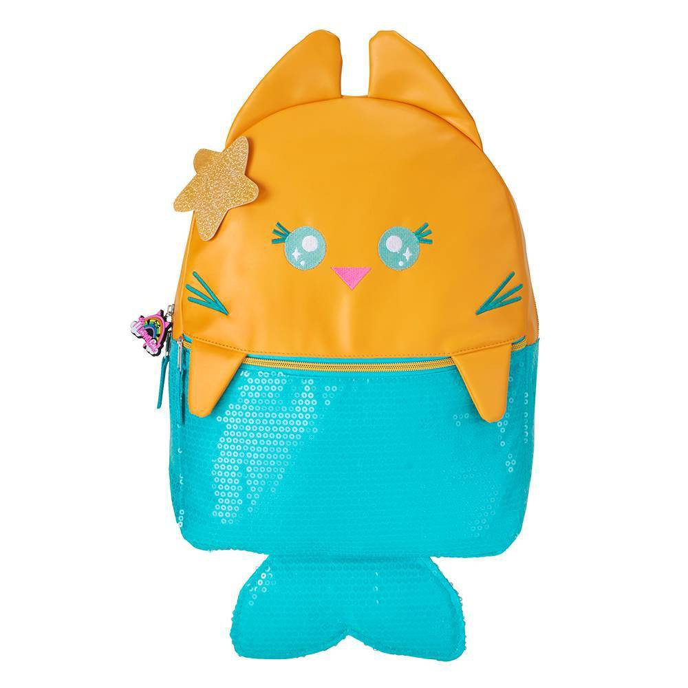 """Image of """"Meowgical Purrmaid 16"""""""" Kids' Backpack - Yellow/Blue, Girl's, Size: Small, Green Yellow"""""""